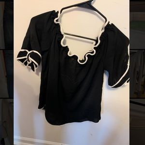 Black with White trimming blouse